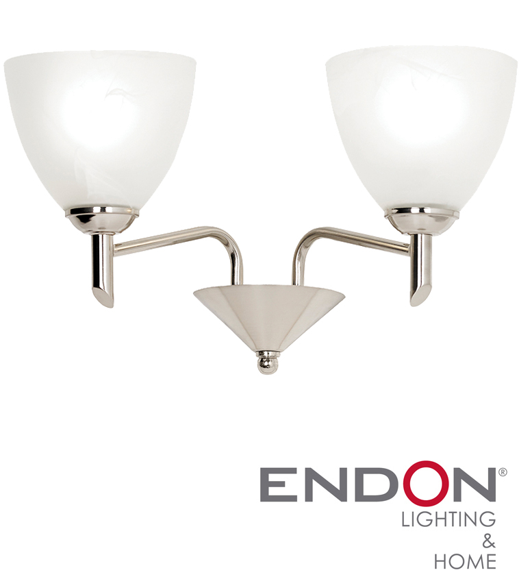 Endon Tiffany Wall Lights : Endon Neeson Satin Nickel Twin Wall Light - NEESON-2WBSN from Easy Lighting